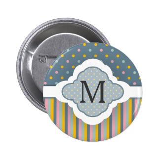 El lunar de encargo lindo del monograma raya el mo pin redondo de 2 pulgadas