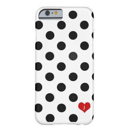el lunar del caso del iPhone 6 negro y el blanco Funda De iPhone 6 Barely There