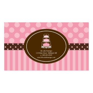 El lunar del rosa de la tienda de la torta raya ta tarjetas de visita
