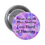 El lunar púrpura me hace frente por favor botón pins