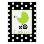El lunar y la fiesta de bienvenida al bebé verde tarjeta de felicitación