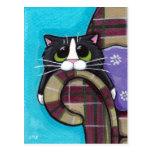 El lunes por la mañana azules - postal del gato