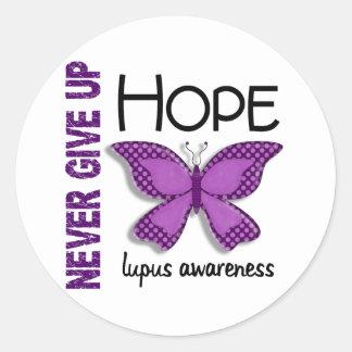 El lupus nunca da para arriba la mariposa 4,1 de pegatinas redondas