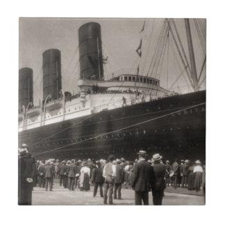 El Lusitania llega New York City 1907 Azulejo Cerámica