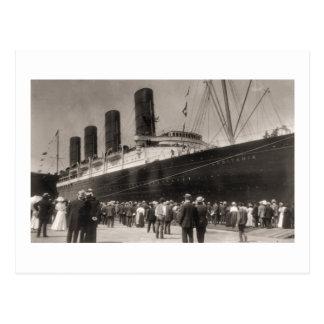 El Lusitania llega New York City 1907 Postal