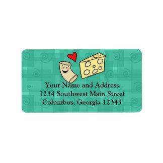 El mac ama el queso, macarrones lindos divertidos etiquetas de dirección