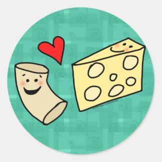 El mac ama el queso, macarrones lindos divertidos pegatina redonda