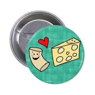 El mac ama el queso, macarrones lindos divertidos pin redondo de 2 pulgadas