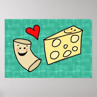 El mac ama el queso, macarrones lindos divertidos póster