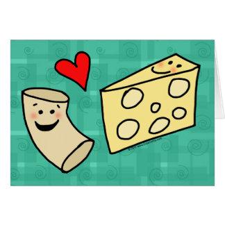 El mac ama el queso, macarrones lindos divertidos tarjeton