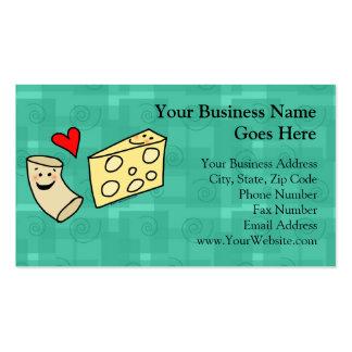 El mac ama el queso, macarrones lindos divertidos plantilla de tarjeta personal