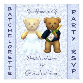 El macho azul de los osos de peluche del fiesta de comunicado personalizado