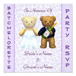 El macho de los osos de peluche de la lila del invitacion personalizada