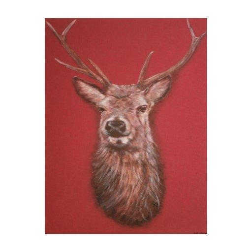 El macho del ciervo común estiró la impresión de l lona envuelta para galerías