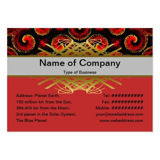 El magma rojo ardiente agita el papel grande tarjetas de visita grandes