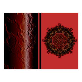 El magma rojo ardiente agita el pequeño papel postales