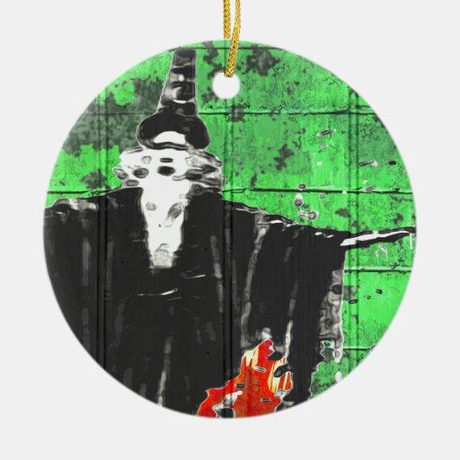 El mago adorno navideño redondo de cerámica