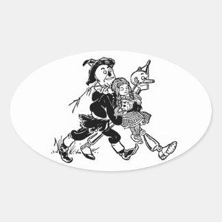 El mago de Oz maravilloso Calcomanías Óvales Personalizadas