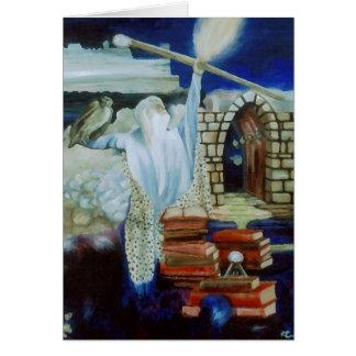El mago que enciende el cielo nocturno con poder tarjeta de felicitación