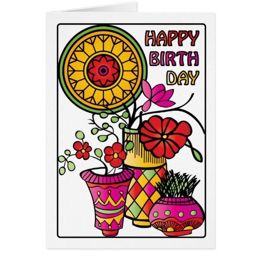 El Mah Jongg florece la tarjeta de cumpleaños 01