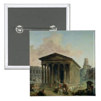 El Maison Carree con el Amphitheatre Pin Cuadrado