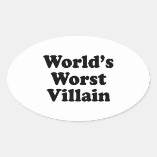 El malvado peor del mundo pegatinas óval personalizadas