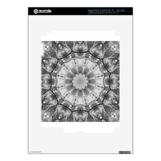 El mandala-estilo floral, flores se ennegrece, iPad 3 pegatina skin