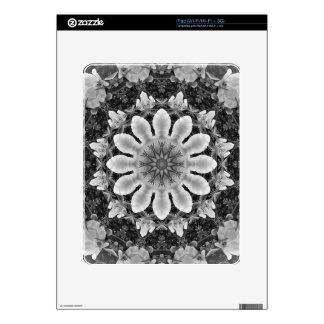 El mandala-estilo floral, flores se ennegrece, iPad calcomanías