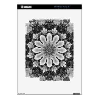 El mandala-estilo floral, flores se ennegrece, skin para el iPad 2