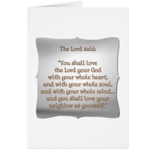 El mandamiento más grande tarjeta de felicitación