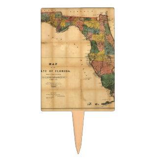 El mapa 1856 del estado de la Florida por Columbus Decoraciones De Tartas