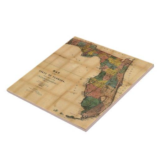El mapa 1856 del estado de la Florida por Columbus Azulejos Cerámicos