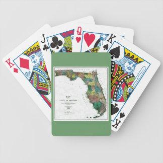 El mapa 1856 del estado de la Florida por Columbus Baraja Cartas De Poker