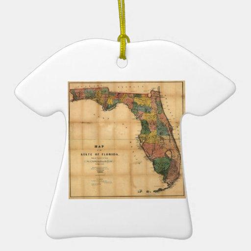 El mapa 1856 del estado de la Florida por Columbus Adorno De Reyes