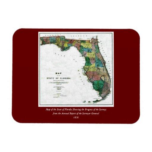 El mapa 1856 del estado de la Florida por Columbus Iman Flexible