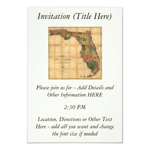 El mapa 1856 del estado de la Florida por Columbus Invitación 8,9 X 12,7 Cm