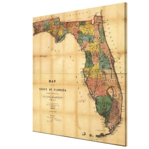 El mapa 1856 del estado de la Florida por Columbus Impresion De Lienzo