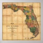 El mapa 1856 del estado de la Florida por Columbus Poster