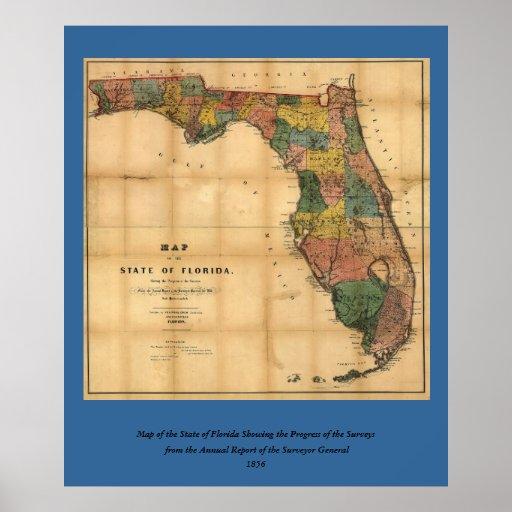 El mapa 1856 del estado de la Florida por Columbus Impresiones