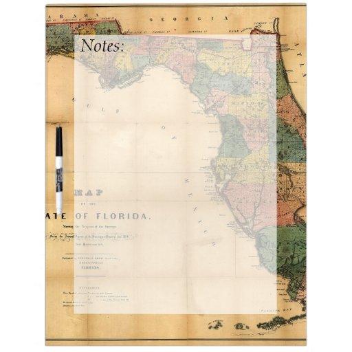El mapa 1856 del estado de la Florida por Columbus Tableros Blancos