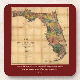 El mapa 1856 del estado de la Florida por Columbus Posavasos De Bebidas
