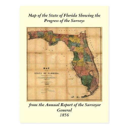 El mapa 1856 del estado de la Florida por Columbus Postal