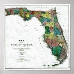El mapa 1856 del estado de la Florida por Columbus Póster