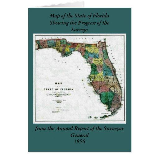 El mapa 1856 del estado de la Florida por Columbus Felicitación