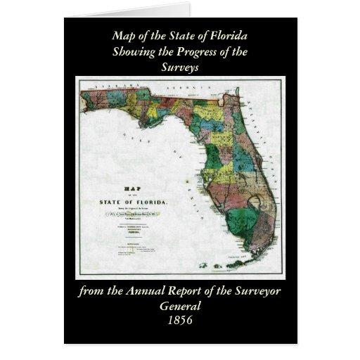 El mapa 1856 del estado de la Florida por Columbus Tarjeta De Felicitación