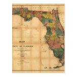 El mapa 1856 del estado de la Florida por Columbus Postales