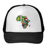 El mapa africano de las banderas de África dentro  Gorros Bordados