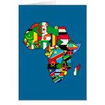 El mapa africano de las banderas de África dentro  Tarjeta