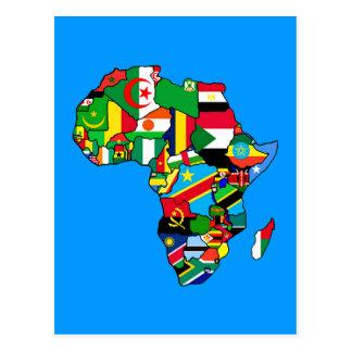 El mapa africano de las banderas de África dentro Postales