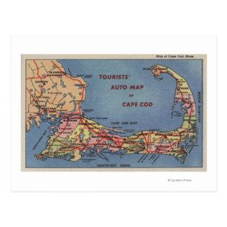 El mapa auto de los turistas de Cape Cod Tarjetas Postales